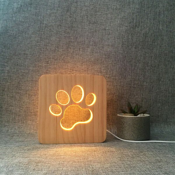 USB Plugged-in Wooden Dag Paw Print LED Night Decorative Lamp_3