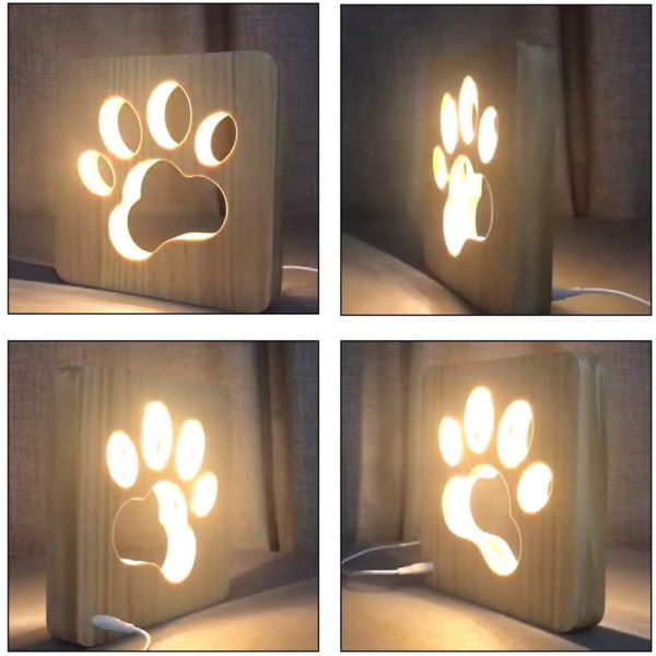 USB Plugged-in Wooden Dag Paw Print LED Night Decorative Lamp_4