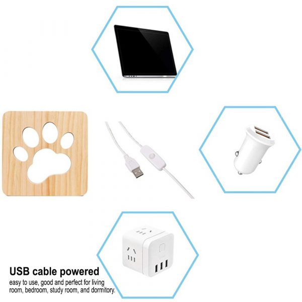 USB Plugged-in Wooden Dag Paw Print LED Night Decorative Lamp_5