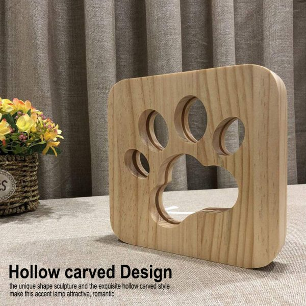 USB Plugged-in Wooden Dag Paw Print LED Night Decorative Lamp_6