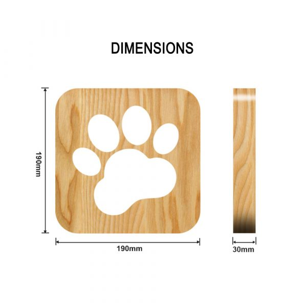 USB Plugged-in Wooden Dag Paw Print LED Night Decorative Lamp_7