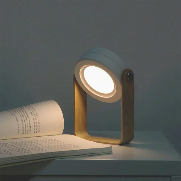 USB Rechargeable LED Retractable Folding Lamp Portable Wooden Night Light_3