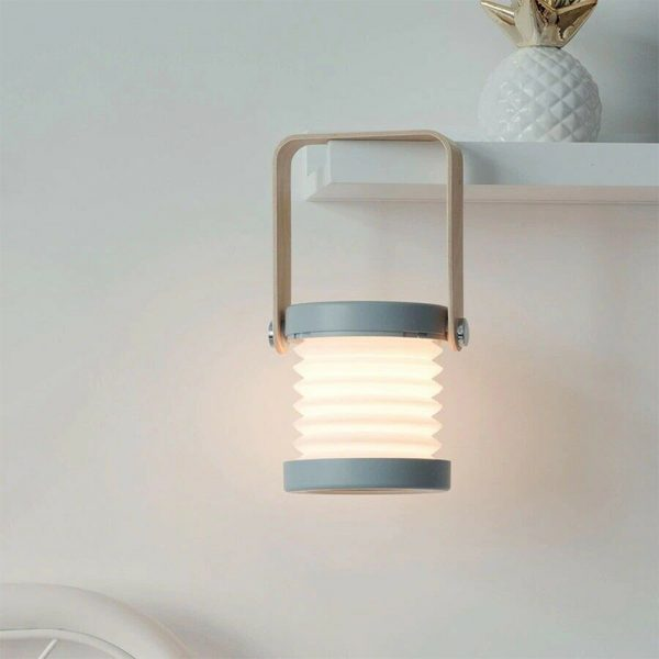 USB Rechargeable LED Retractable Folding Lamp Portable Wooden Night Light_5