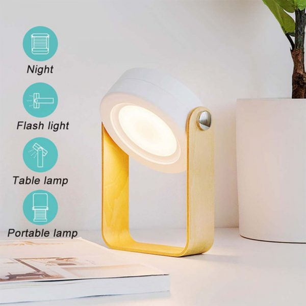 USB Rechargeable LED Retractable Folding Lamp Portable Wooden Night Light_7