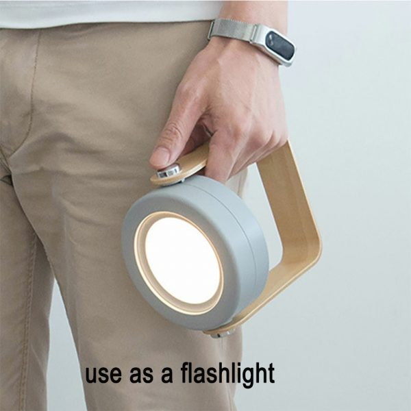 USB Rechargeable LED Retractable Folding Lamp Portable Wooden Night Light_9