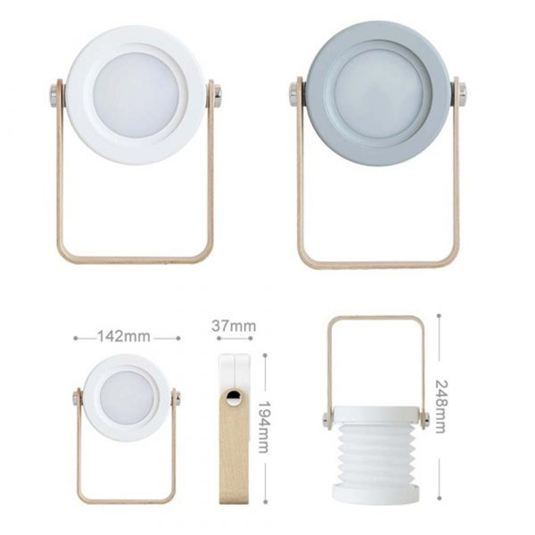 USB Rechargeable LED Retractable Folding Lamp Portable Wooden Night Light_11