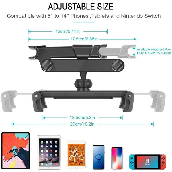 Universal Adjustable Angle Car Headrest Mobile Phone and Device Holder_4