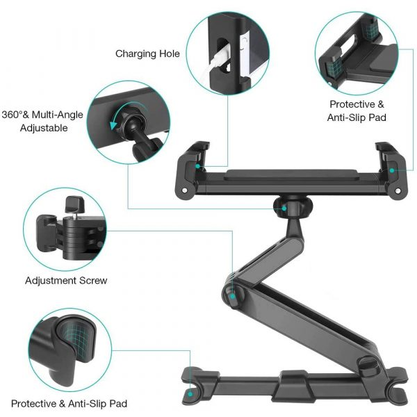Universal Adjustable Angle Car Headrest Mobile Phone and Device Holder_7