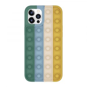 Rainbow Silicone Phone Case for iPhone Devices Stress Reliever Pop Bubble