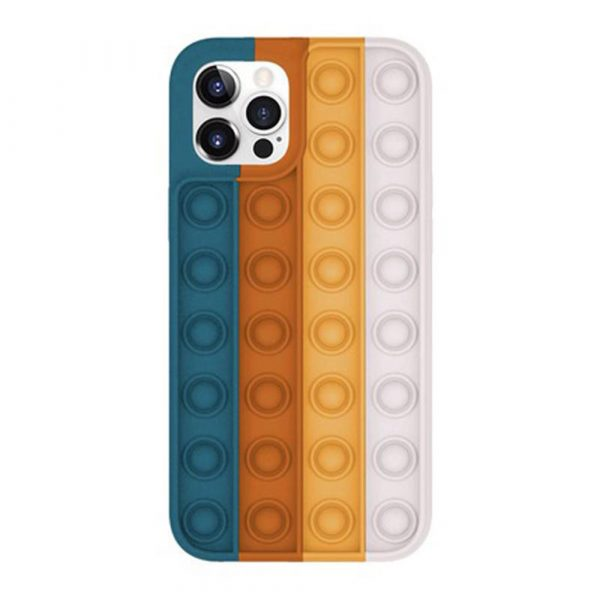 Rainbow Silicone Phone Case for iPhone Devices Stress Reliever Pop Bubble_0
