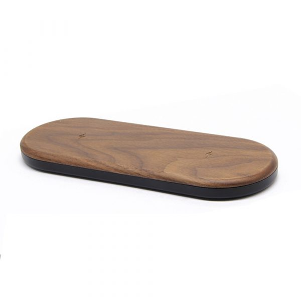 Dual Station Qi Standard Fast Charging Wood Wireless Charger Pad_1