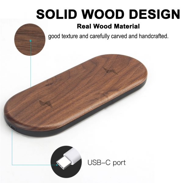 Dual Station Qi Standard Fast Charging Wood Wireless Charger Pad_2