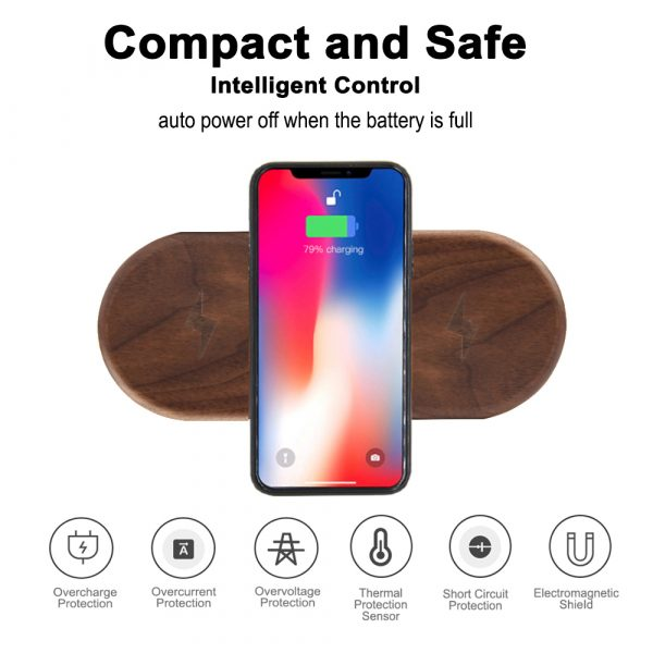 Dual Station Qi Standard Fast Charging Wood Wireless Charger Pad_3