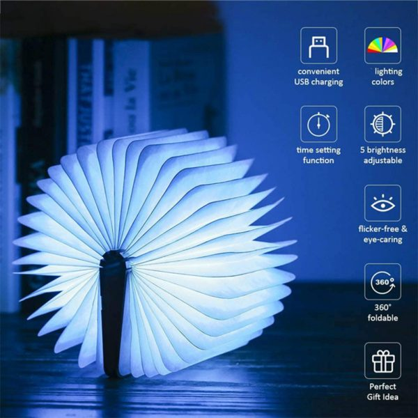 USB Rechargeable 3 Colors 3D Creative Foldable LED Book Night Light_4