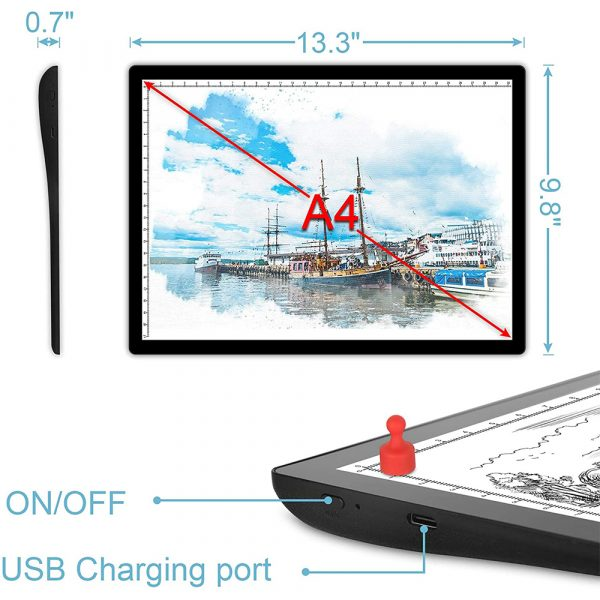 USB Rechargeable A4 Magnetic Pad Guide Light Tracing and Drawing Board_10
