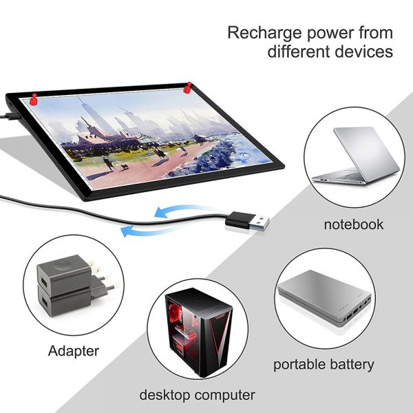 USB Rechargeable A4 Magnetic Pad Guide Light Tracing and Drawing Board_12