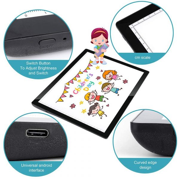 USB Rechargeable A4 Magnetic Pad Guide Light Tracing and Drawing Board_15