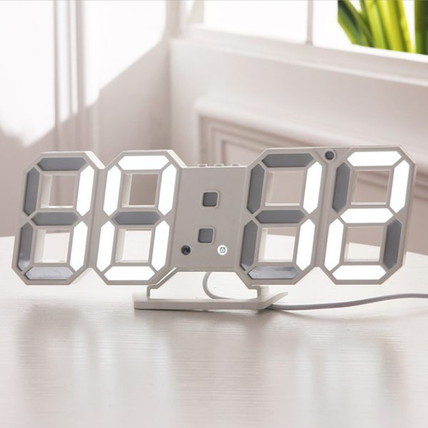 Digital Modern Plugged-in 3D LED Wall and Alarm Clock_2