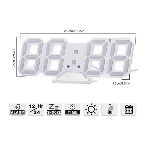 Digital Modern Plugged-in 3D LED Wall and Alarm Clock_7