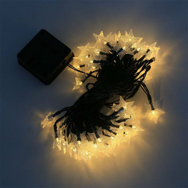 Solar-Powered LED 5-point Star String Lights Outdoor Decorative Lights_3