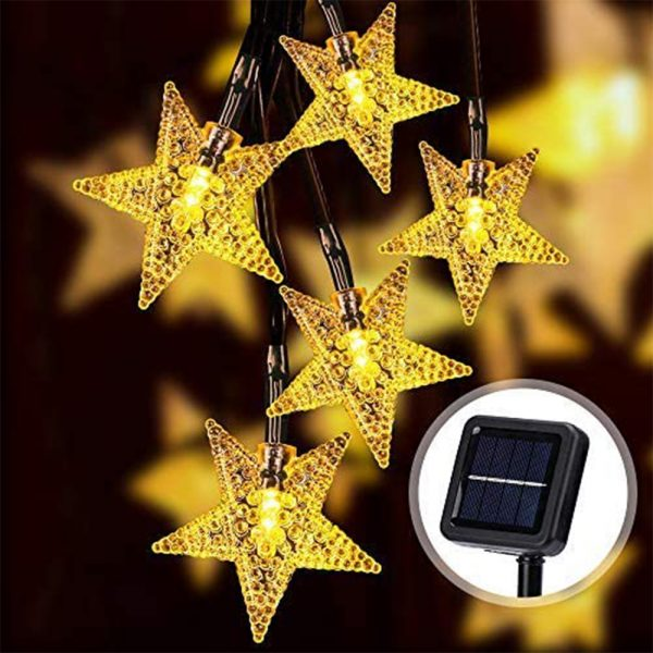 Solar-Powered LED 5-point Star String Lights Outdoor Decorative Lights_0