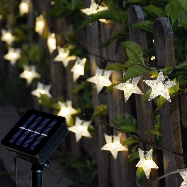 Solar-Powered LED 5-point Star String Lights Outdoor Decorative Lights_4