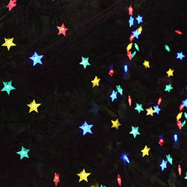 Solar-Powered LED 5-point Star String Lights Outdoor Decorative Lights_5