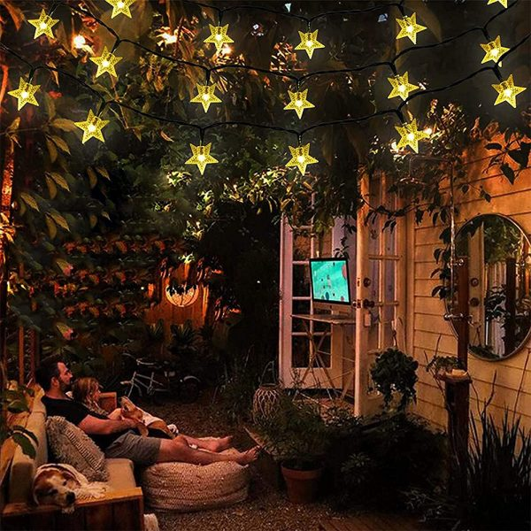 Solar-Powered LED 5-point Star String Lights Outdoor Decorative Lights_6