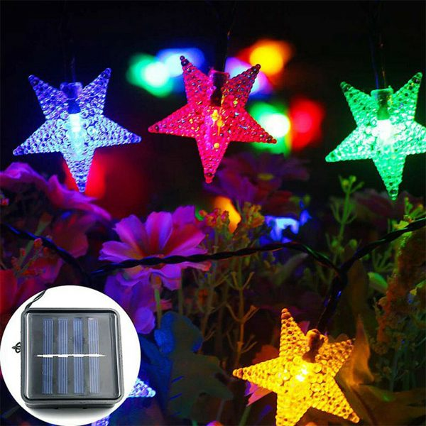 Solar-Powered LED 5-point Star String Lights Outdoor Decorative Lights_7