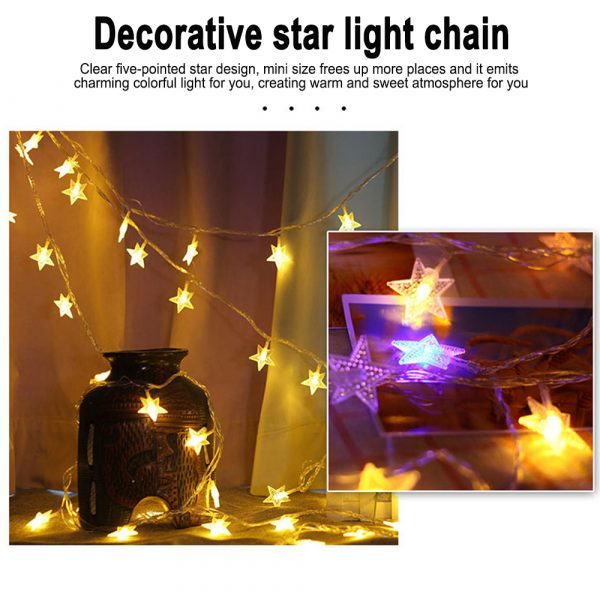 Solar-Powered LED 5-point Star String Lights Outdoor Decorative Lights_10