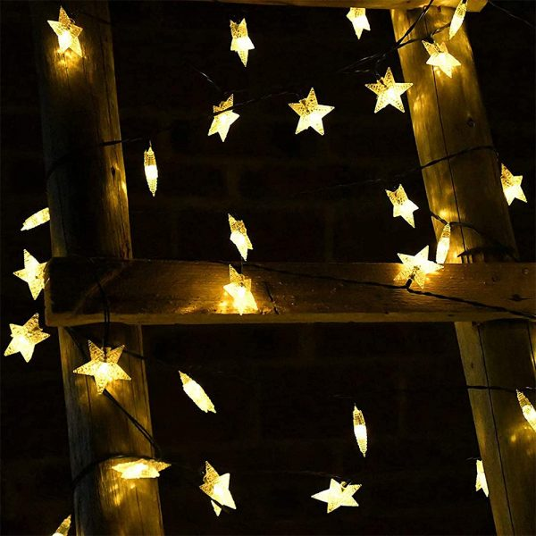 Solar-Powered LED 5-point Star String Lights Outdoor Decorative Lights_26