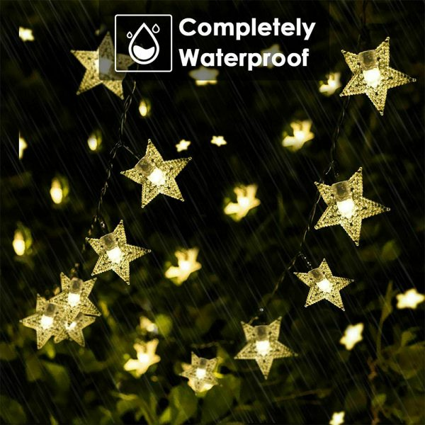Solar-Powered LED 5-point Star String Lights Outdoor Decorative Lights_13