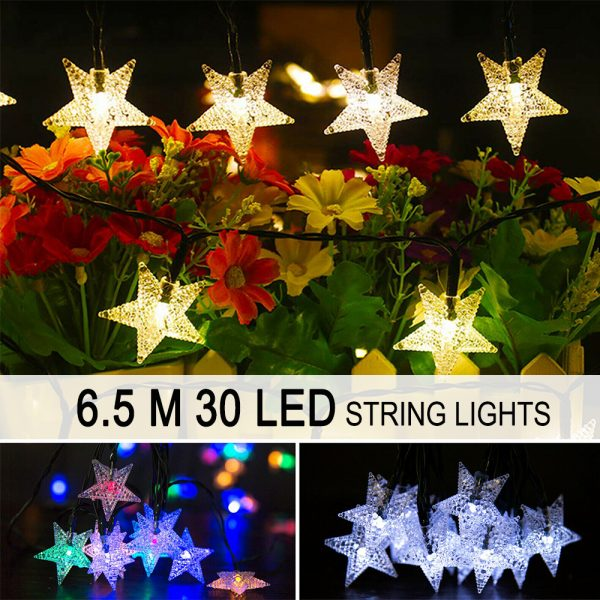 Solar-Powered LED 5-point Star String Lights Outdoor Decorative Lights_14