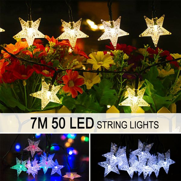Solar-Powered LED 5-point Star String Lights Outdoor Decorative Lights_15