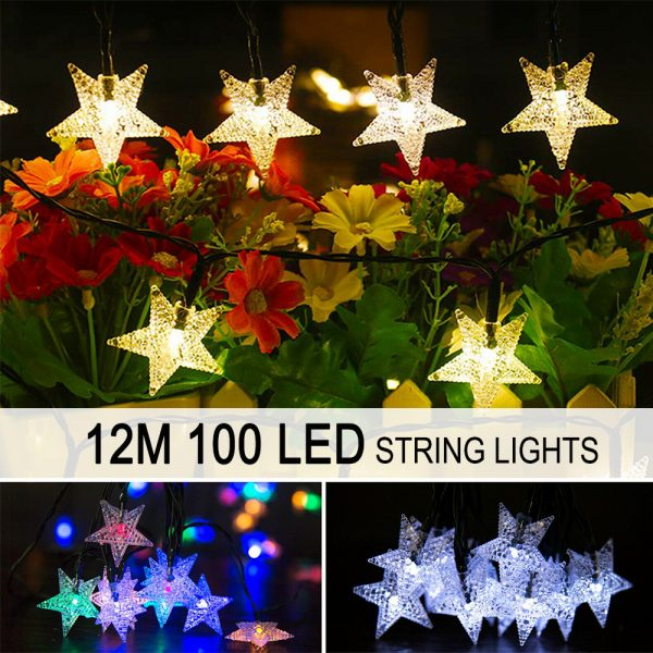 Solar-Powered LED 5-point Star String Lights Outdoor Decorative Lights_16