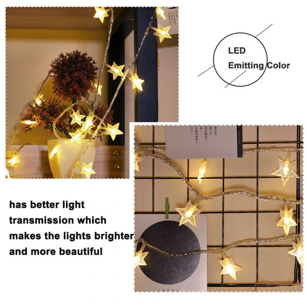 Solar-Powered LED 5-point Star String Lights Outdoor Decorative Lights_17