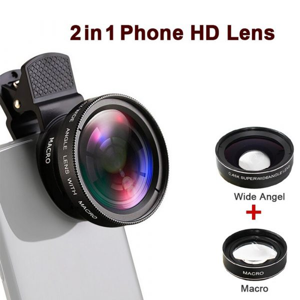 Universal 2-in-1 Wide Angle and Macro Lens Mobile Phone Clip HD Camera Lens_5