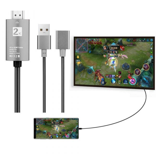 2m USB to HDMI 2K HD Cable Cord for 8-Pin Apple Devices_4