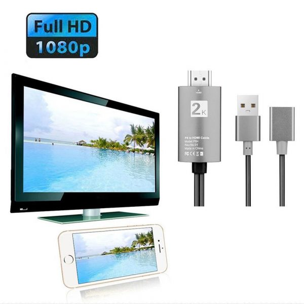 2m USB to HDMI 2K HD Cable Cord for 8-Pin Apple Devices_6