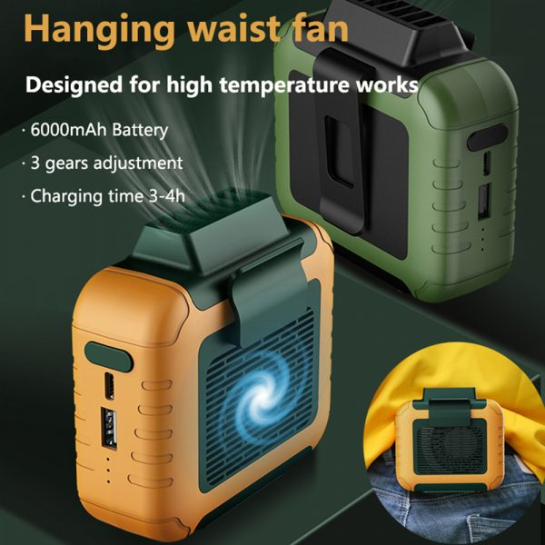 USB Portable Personal Hanging Waist Fan with Rechargeable Battery_3