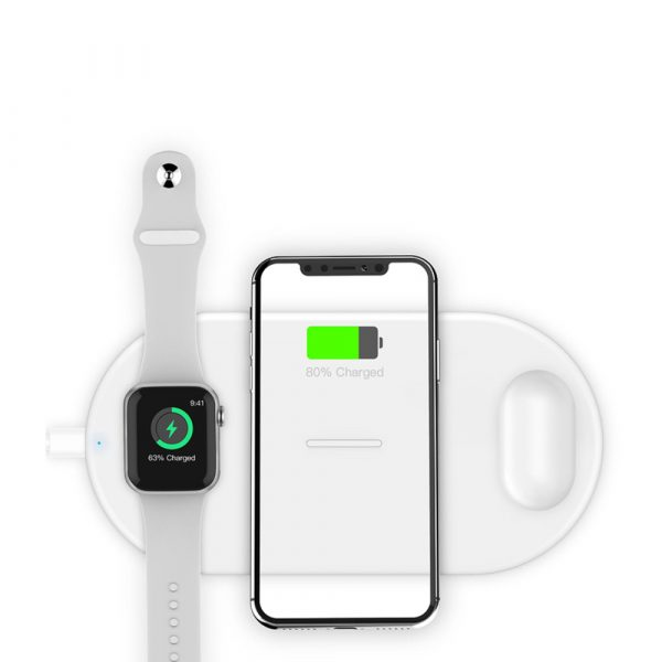 3-in-1 Wireless Charger for QI Devices iPhone, Watch & Airpods_0