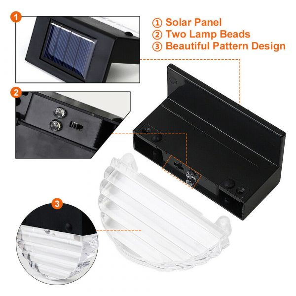 4-pc Outdoor Solar LED Deck Light Garden Decoration Wall and Step Light_9