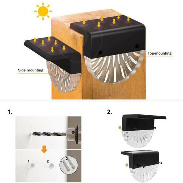 4-pc Outdoor Solar LED Deck Light Garden Decoration Wall and Step Light_12