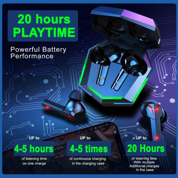 Low Latency TWS Bluetooth Gaming Earphones with Charging Case_10