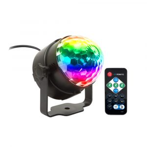 Remote Controlled RGB LED Light Voice Activated Rotating Crystal Light