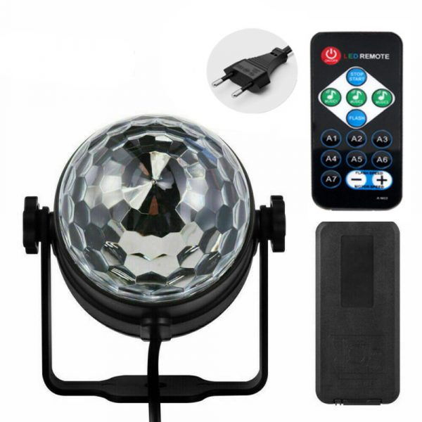 Remote Controlled RGB LED Light Voice Activated Rotating Crystal Light_5