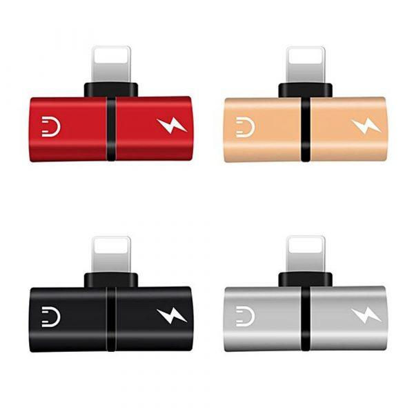 T- Shaped Dual Port Headset and Charger Splitter for Apple iPhone_0