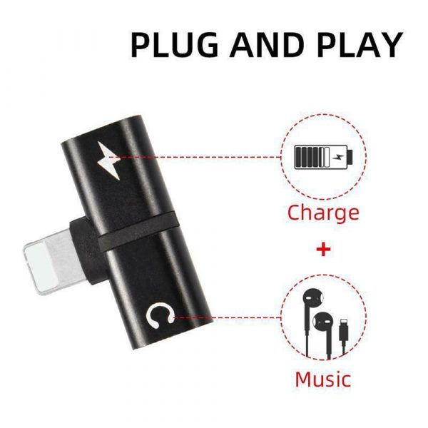 T- Shaped Dual Port Headset and Charger Splitter for Apple iPhone_9