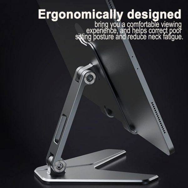 Metal Foldable Tablet Tabletop Vertical Stand with Adjustable Angle_3