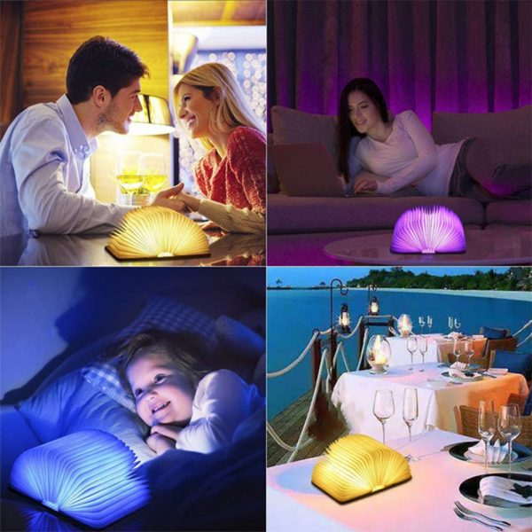 USB Rechargeable 3 Colors 3D Creative Foldable LED Book Night Light_6